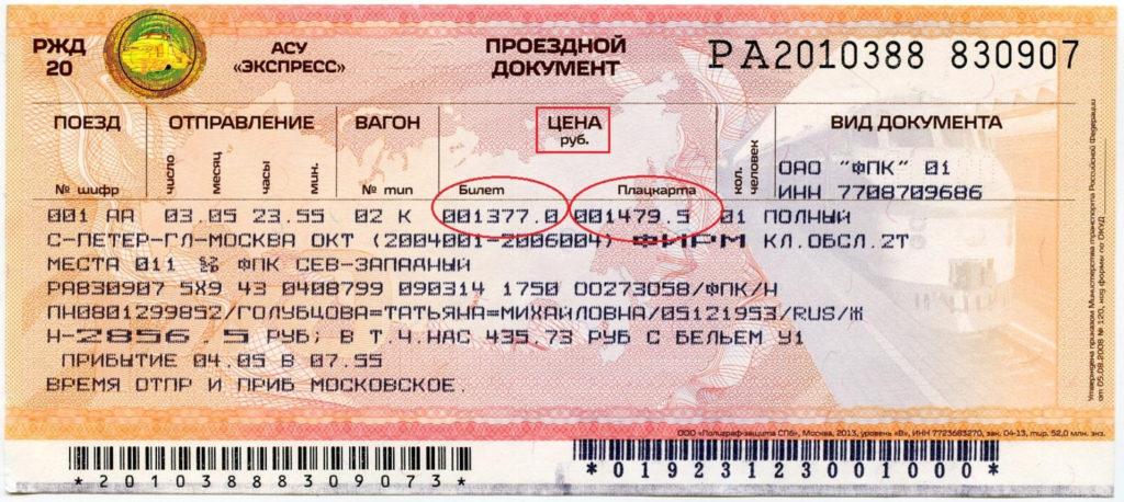Расшифровка билета ржд