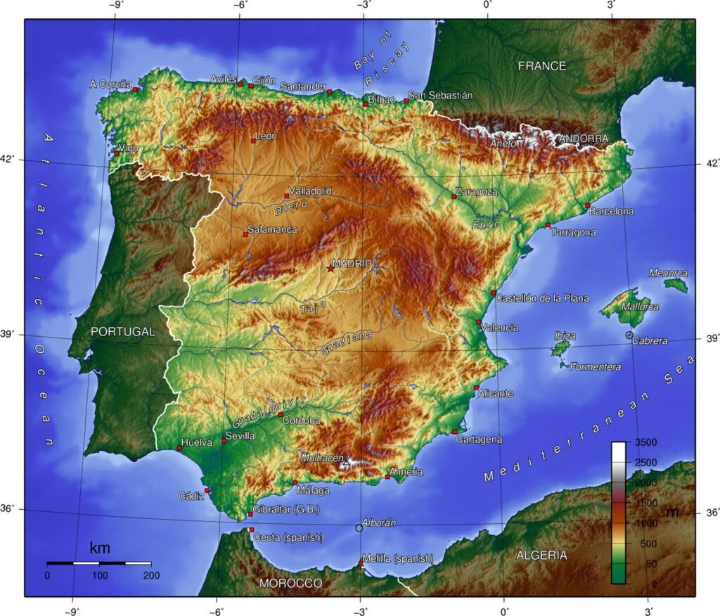 Топографическая карта Испании