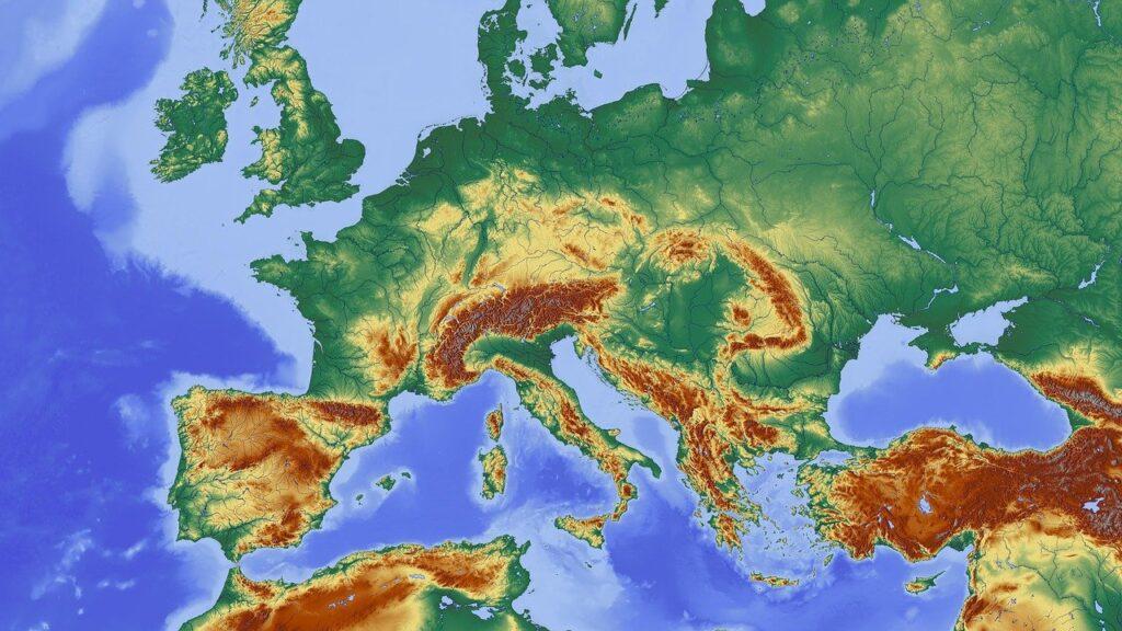 Рельефная карта Италии